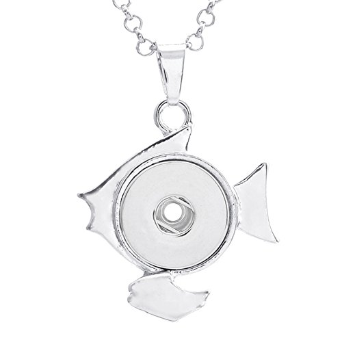 (ZARABE Snap Button Fish Charm Pendant For DIY Jewelry Fit 18MM)