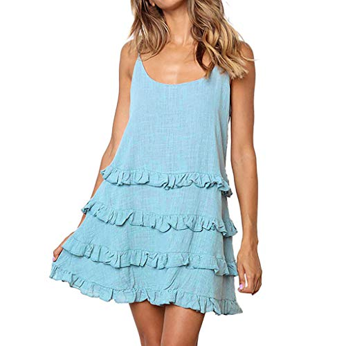 Sunhusing Women Solid Color Layered Pleated Ruffled Round Neck Spaghetti Camisole Dress Holiday Mini Sundress ()