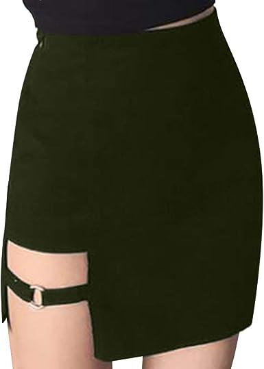 DressLksnf Falda Moda Mujer Verano Cremallera Color Sólido Falda ...