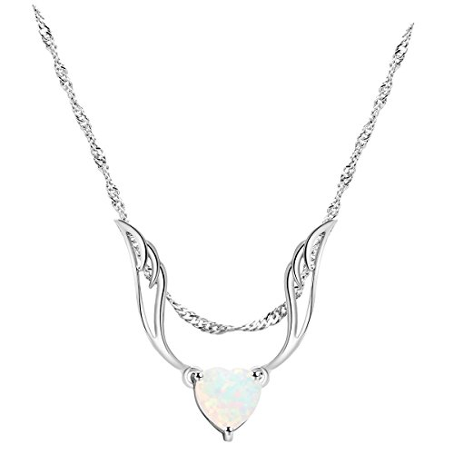 Lady's Pendant White Fire Opal Rhodium Plated Heart Angel Wings Shaped Wedding Party Necklace - Shaped Wing