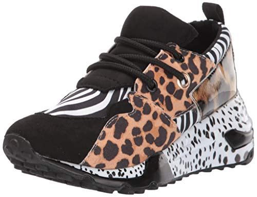 Steve Madden Girls' JCLIFF Sneaker, Animal Multi, 5 M US Big Kid