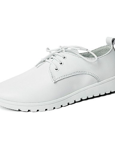 ZQ 2016 Zapatos de mujer - Tacón Plano - Punta Redonda - Oxfords - Casual - Cuero - Negro / Blanco , white-us8.5 / eu39 / uk6.5 / cn40 , white-us8.5 / eu39 / uk6.5 / cn40 white-us8.5 / eu39 / uk6.5 / cn40