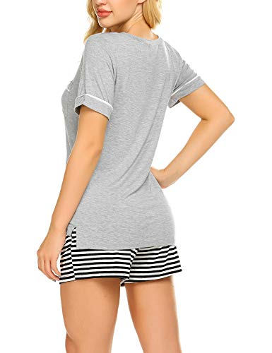 UNibelle Pigiama Due Pezzi Pigiami Estivi Donna Collo a U Vestaglia Ragazza Maniche Corte con Pantalocini S-XXL