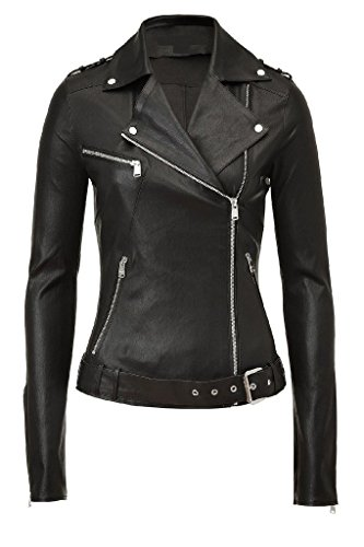 Western Leather Women's Lambskin Leather Bomber Biker Jacket Large Black