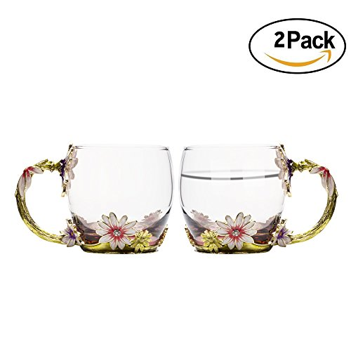 TIANG Glass Mug, Chrysanthemum Flower Tea Cups with Handle, 11 Oz Clear Glass Cup Set of 2, Personalized Valentine's Day Gift for Hot Beverages, Tea, Juice, Women, Grandma, Mom, Teachers 2 Tea Mugs