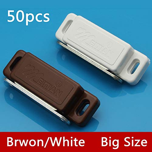 50pcs G75 Wholesale White/Brown Magnetic Touch Nylon Cabinet Door Catches Stop With Screws For Furniture Hardware - (Color: Brown) by Kasuki (Image #2)