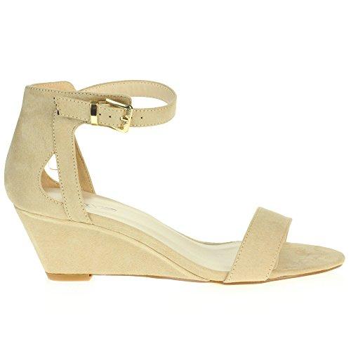 De Des Forme Mariage Soir Chaussures Beige Brillant Sandales Compensé Femmes Fête Talon Plate Mariée Dames Taille SqHXXUawT
