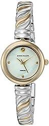 Anne Klein Women's AK/2455MPTT Diamond-Accented Two-Tone Bangle Watch