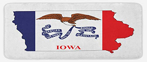 - Lunarable Iowa Kitchen Mat, Outline Map and Flag of Hawkeye State Bald Eagle USA, Plush Decorative Kitchen Mat with Non Slip Backing, 47 W X 19 L Inches, Cobalt Blue Vermilion White and Pale Brown