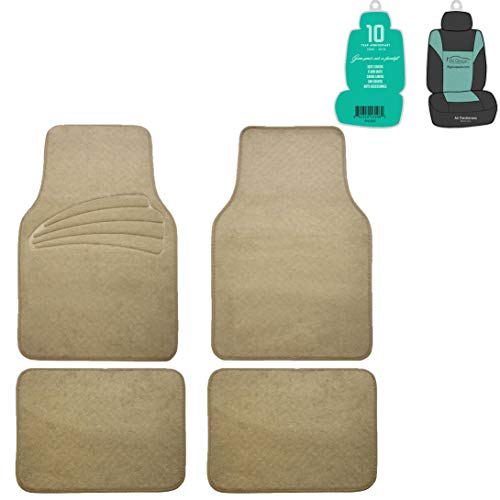 FH Group F14401 Premium Carpet Floor Mats with Heel Pad, Beige Color w. Free Air Freshener- Fit Most Car, Truck, SUV, or -