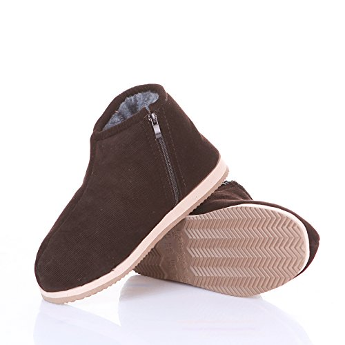 LaxBa Ladies' Cachemire tricoté coton Maison SlippersBrown45 antiglisse (habituellement 43-44)