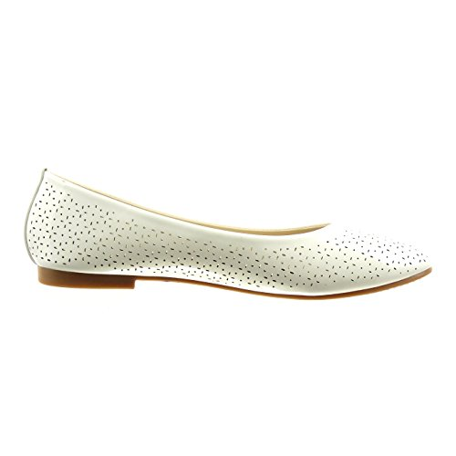 Sopily - Zapatillas de Moda Bailarinas Tobillo mujer brillantes perforado Talón Tacón ancho 1 CM - plantilla sintético - Blanco