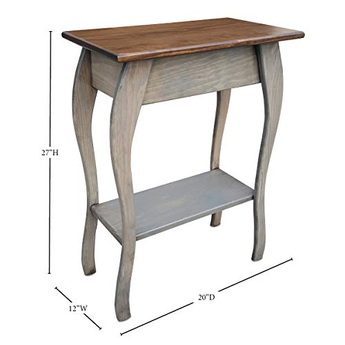 Slim Wooden End Table Amish Furniture | Thin Narrow Side Tables for Living Room, Hallway, or Nightstand (Unfinished)