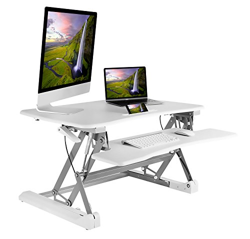 White Standing Desk Converter 35 Inch - Height Adjustable Standing Desktop with Keyboard Tray, Fits Two Monitors, Free Standing, Easy Installation