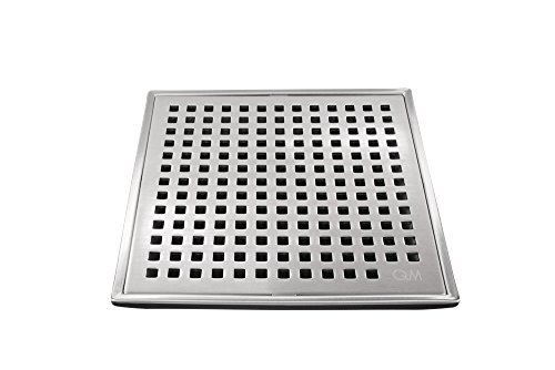 Drain Shower Base Finish - QM Square Shower Drain, Grate made of Stainless Steel Marine 316 and Base made of ABS, Lagos Series Mira Line, 4 inch, Satin Finish, Kit includes Hair Trap/Strainer and Key
