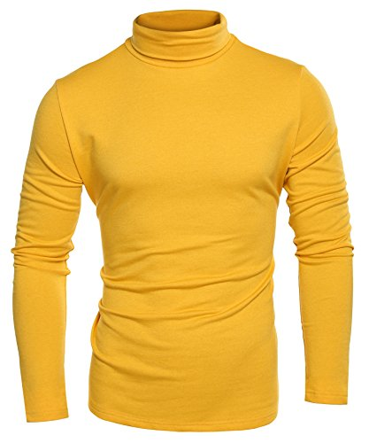 Coofandy Mens Casual Basic Thermal Turtleneck Slim Fit Pullover Thermal Sweaters, Yellow, XXX-Large by COOFANDY