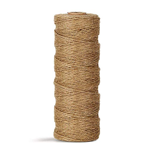 Twin Rope - Natural Jute Twine Durable Industrial Packing Materials Heavy Duty Natural Brown Twine Jute Rope/String 328ft/100m for Arts, Crafts & Gardening Applications