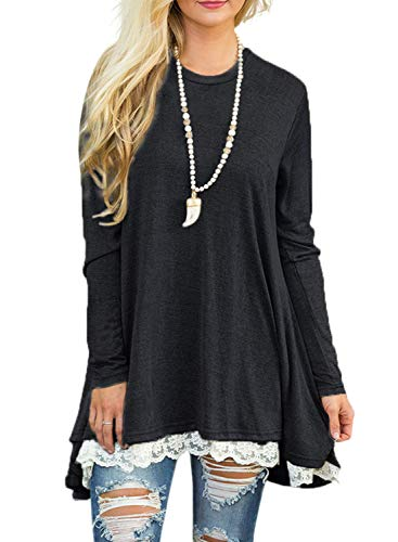 Sanifer Women Lace Long Sleeve Tunic Top Blouse (X-Large, Black)