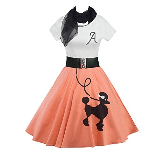 DressLily Retro Poodle Print High Waist Skater Vintage Rockabilly Swing Tee Cocktail Dress (Large, Orangepink)