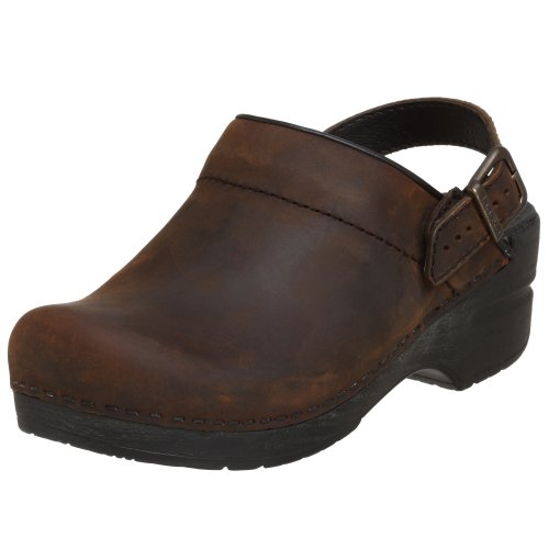 Dansko Women's Ingrid Antique Brown Oiled Leather / Black Outs Clogs 39 M ()