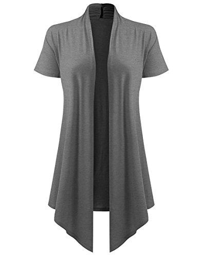 Cardigan Cotton Grey - Dutebare Womens Short Sleeve Open Front Cardigan Lightweight Drape Cardigans Dark Gray S