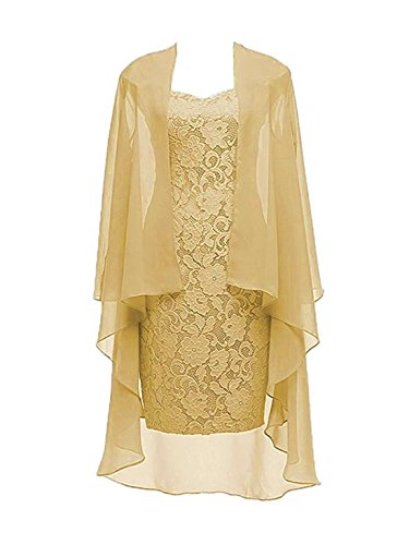 (Column 3/4 Sleeves Lace Chiffon Short Wedding Mother Evening Dresses Formal Gold Size 18W)