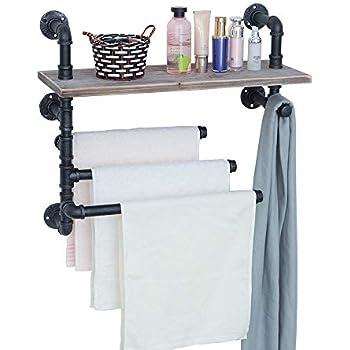 GWH Industrial Towel Rack with 3 Towel Bar,24in Rustic Bathroom Shelves Wall Mounted,Farmhouse Black Pipe Shelving Wood Shelf,Metal Floating Shelves Towel Holder,Iron Distressed Shelf Over Toilet