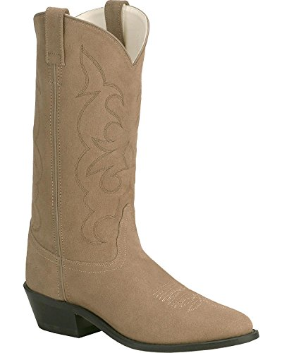 Old West Men's Roughout Suede Cowboy Boot Natural 12 D(M) US