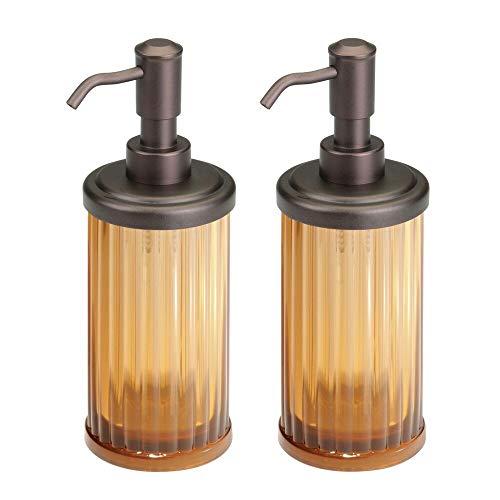 mDesign Fluted Plastic Refillable Liquid Soap Dispenser Pump Bottle for Bathroom Vanity Countertop, Kitchen Sink - Holds Hand Soap, Dish Soap, Hand Sanitizer, Essential Oils - 2 Pack - Amber/Bronze