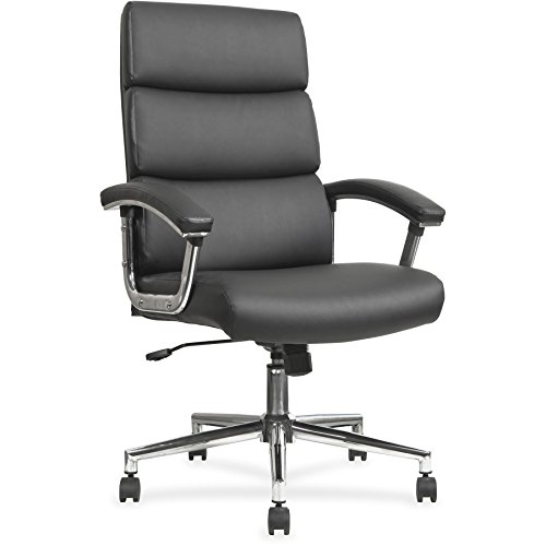 Lorell Leather High-Back Chair, Black ()