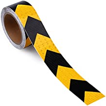 "2"" X 30 Feet Reflective Hazard Warning Tape Waterproof Yellow/Black - High Intensity Reflector Safety Tape For Stairs Steps Floors"
