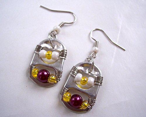 (Pop Tab Earrings Burgundy Yellow and White)