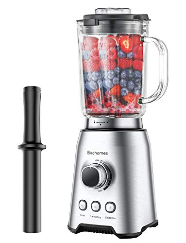 Elechomes Blender, Professional Blender for Shakes and Smoothies, High-Speed Smoothie Mixer with 64 Oz Glass BPA-Free Pitcher, 1000W Countertop Kitchen Food Processor Maker for Ice, Frozen Fruit, Soup