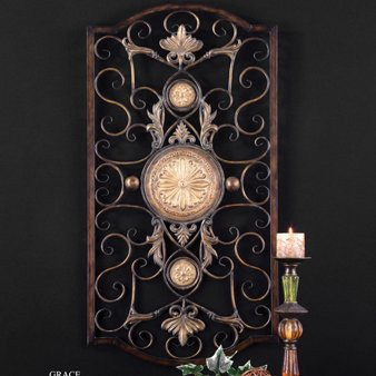 Grace Wrought Iron - Uttermost Micayla Large Wall Art 1 x 22 x 42, Chestnut Brown