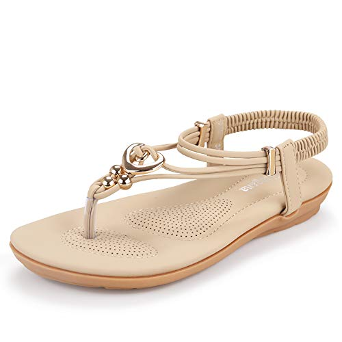 Women's Summer Bohemian Beaded Ankle Walking Strap Sandals Size 6 7 8 9 Casual Flip Flops Ladies Beach Sexy Flats Shoes (8 B(M) US, Beige) (Beaded Flats)