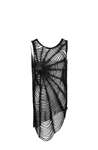 Punk Rave Gothic Spider Web Sleeveless Shirts for Women Steampunk Rock Blouses Vest Black F Punk Rock Vests