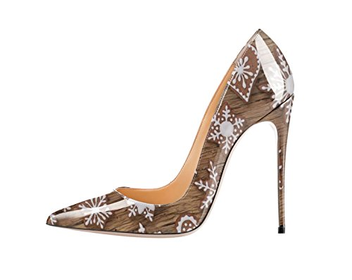 QianZuLian Women's Pointed Toe Shoes Shallow Big Size High Heel Stilettos Chocolate Patent Leather Pumps for Banquet Party US11.5
