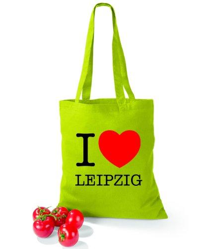 Artdiktat Baumwolltasche I love Leipzig Lime Green