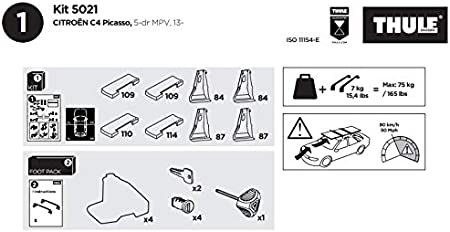 taglia unica Nero Thule 145201 Kit di Fissaggio