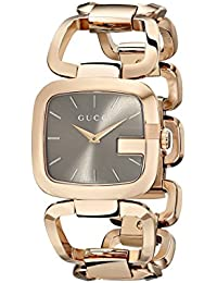 G-Gucci Brown Sun-Brushed Dial Stainless Steel Women's Watch(Model:YA125408)