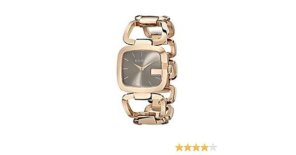 Gucci YA125408 - Reloj de cuarzo para mujer, con correa de acero inoxidable chapado, color dorado: Amazon.es: Relojes