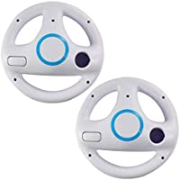 2pcs White Mario Kart Steering Wheel for Nintendo Wii