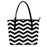 Women's Bag Shoulder Tote handbag Zipper Purse Top-handle Zip Bags - Geometric Black White Chainmail Pattern