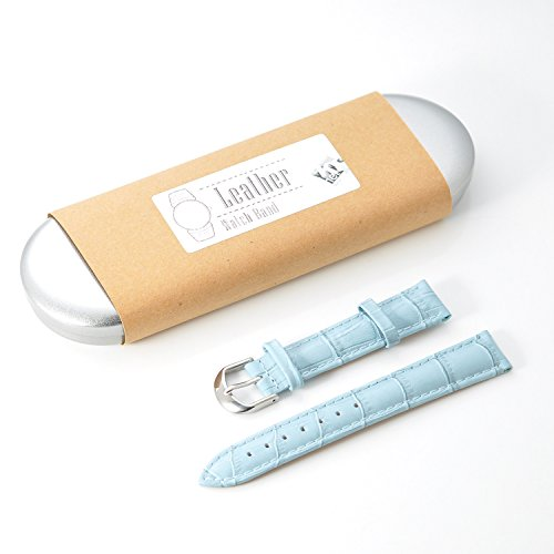 KR-NET 18mm Light Blue Crocodile Alligator Grain Cow Leather Watch Band Strap +Screen Protector + Tool for Withings Activitie Pop Steel