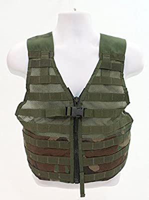 US Military MOLLE FLC Fighting Load Carrier Zip Front Tactical Vest , Woodland Camo