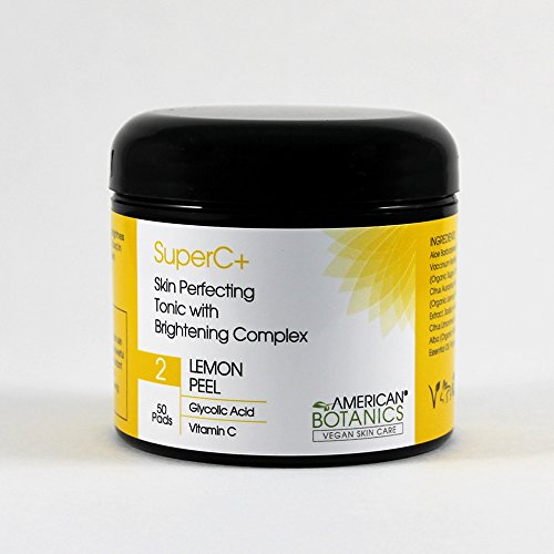 Brightening Tonic - American Botanics SuperC+ Skin Perfecting Tonic with Brightening Complex Toner Pads - All Natural, Vegan, Cruelty-Free, Botanical Skin Care