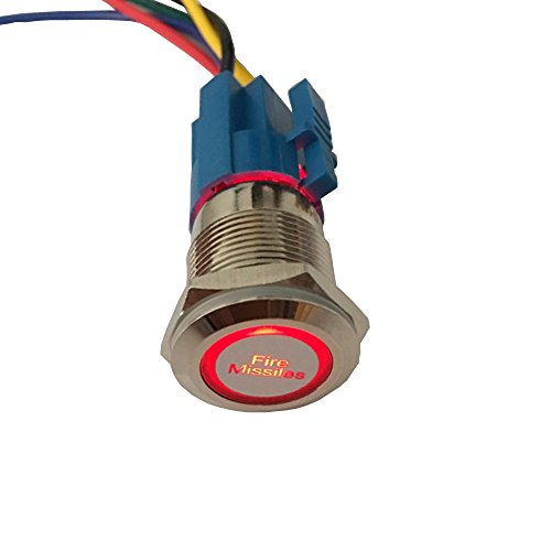 ESUPPORT 12V Car Vehicle Red LED Light Headlight Push Button Metal Toggle Switch Socket Plug 19mm Fire Missiles