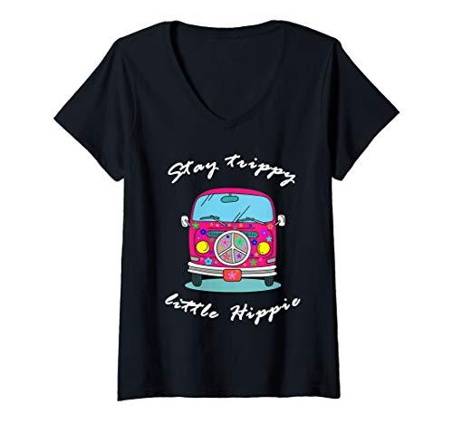 Womens Stay Trippy Little Hippie Retro Minibus Van 1960s 1970s V-Neck T-Shirt ()