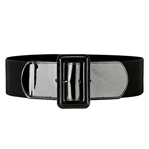 "Women Waist Belt with Patent Leather for Dress 2.95"" Wide"