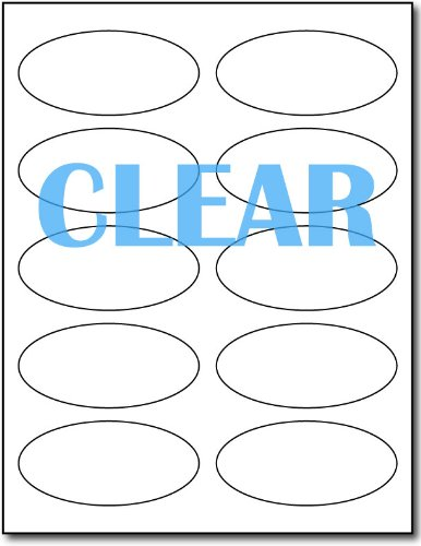 Laser Clear Labels Oval 1 3/4